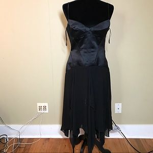 Unique black spaghetti strap formal dress